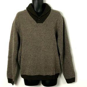 Jos A Bank Executive shawl sweater lambswool  L